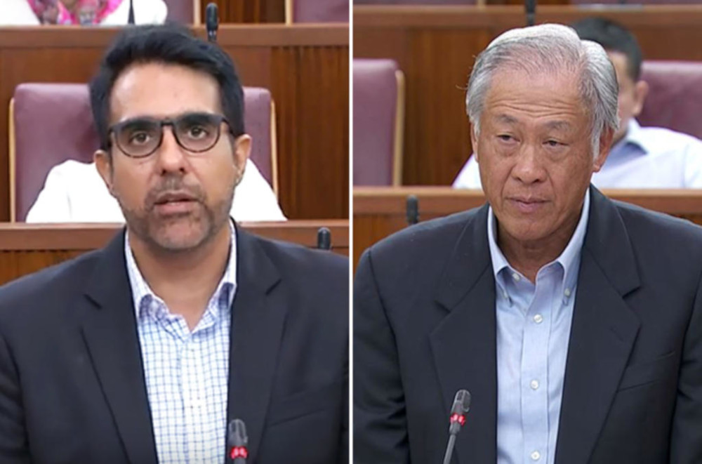 Workers' Party (WP) chief Pritam Singh called for a review of the Government Proceedings Act, which indemnifies members of the armed forces from negligence suits for deaths and injuries that occur during military duty. — Parliament screengrab via TODAY
