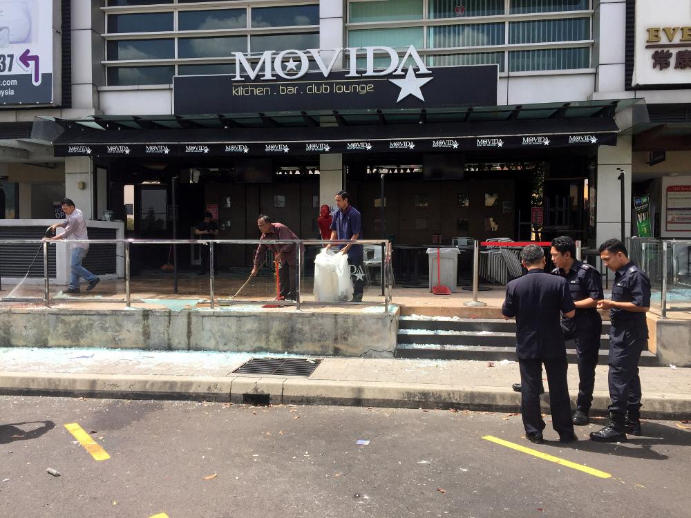 The Movida bar in Selangor, Malaysia after the grenade attack on June 28, 2016. — Reuters pic