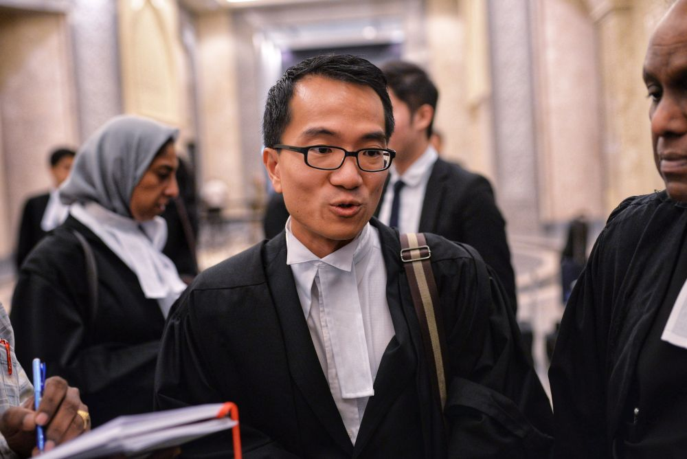 Lawyer Raymond Mah speaks to reporters at the Palace of Justice, Putrajaya February 14, 2019. — Picture by Shafwan Zaidon
