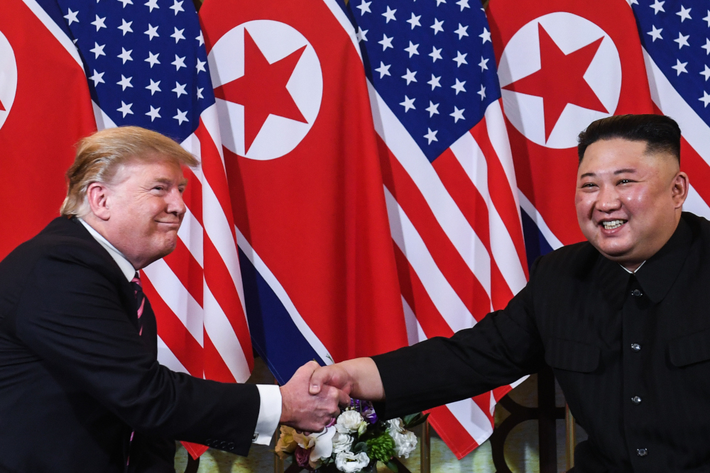 US President Donald Trump shakes hands with North Korea's leader Kim Jong-un following a meeting at the Sofitel Legend Metropole hotel in Hanoi on February 27, 2019. North Korea accused the US of failing to show flexibility after a breakdown last month in the first talks between their officials since Trump and Kim agreed in June to reopen negotiations. — AFP pic