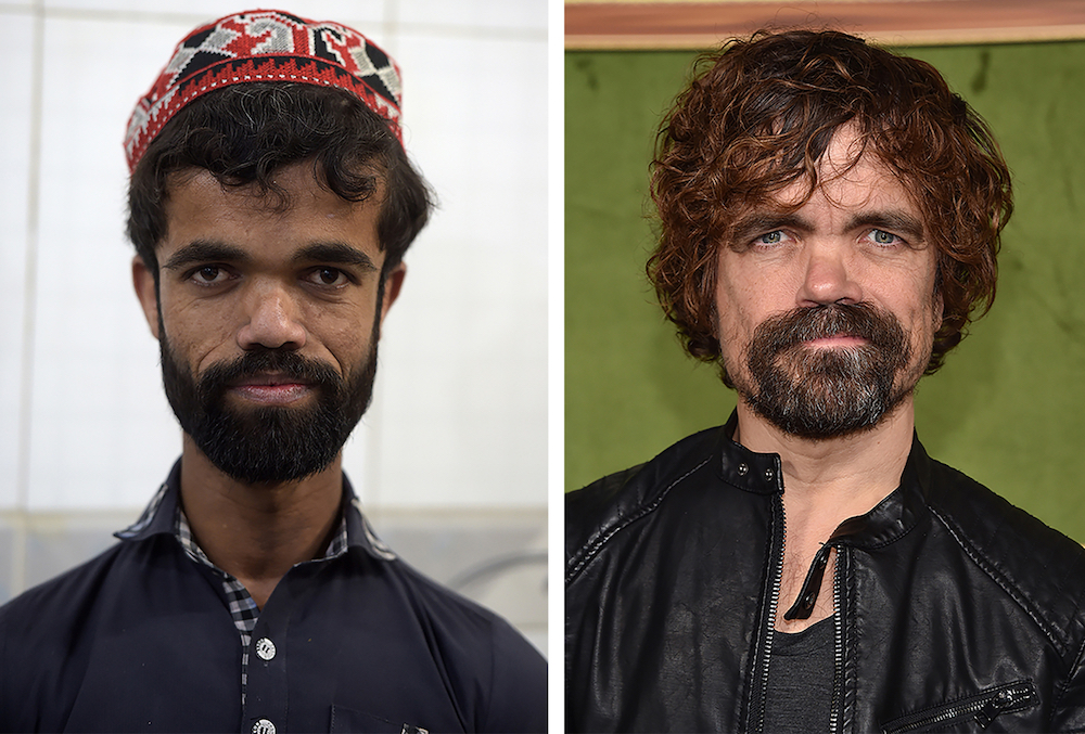 Pakistani waiter Rozi Khan poses for a photograph at Dilbar Hotel in Rawalpindi; (right) US actor Peter Dinklage. — AFP pic