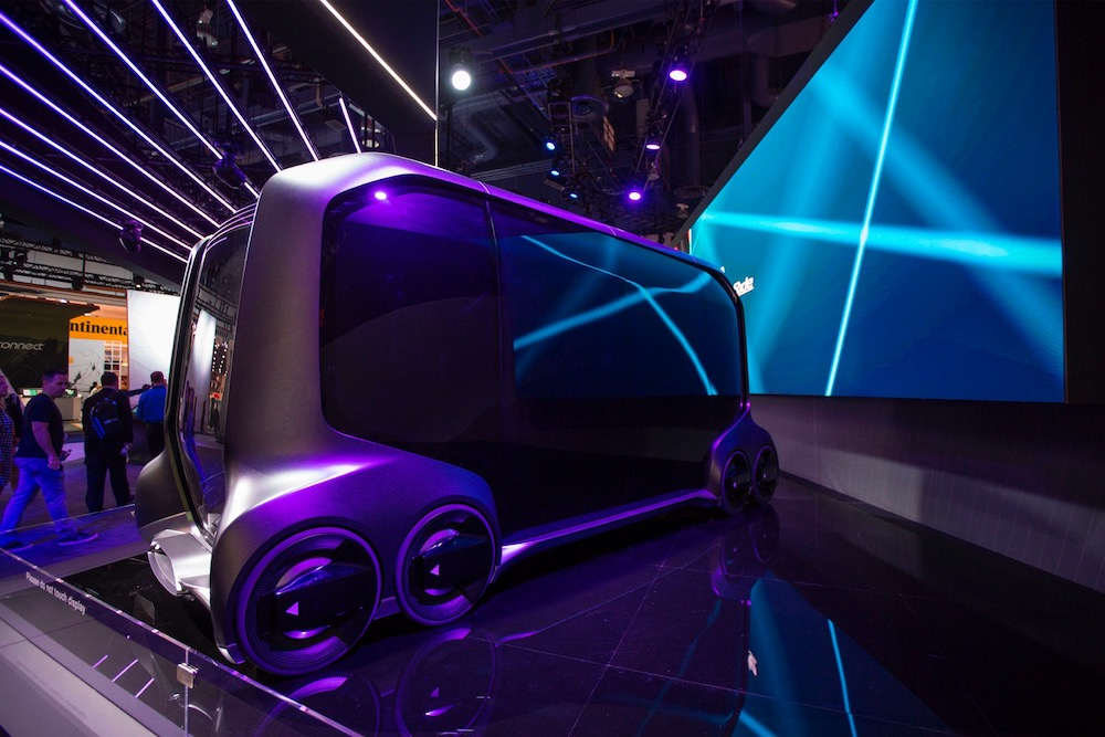 The Toyota e-Palette, an autonomous vehicle designed for multiple business purposes such as driverless stores, is displayed at CES in Las Vegas January 12, 2018. — AFP pic