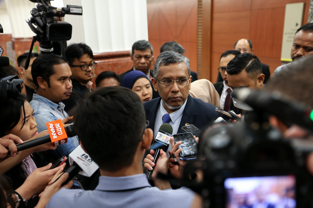 Deputy Minister Hanipa Maidin said the Dewan Negara passed the repeal of the Anti-Fake News Act 2018 (Act 803) after the Bill was tabled for second reading today. — Picture by Ahmad Zamzahuri