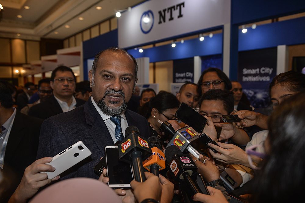 Communication and Multimedia Minister Gobind Singh Deo speaks to the press during the launch of the Cyberjaya Infra Conference and Exhibition 2019 in Cyberjaya  March 04, 2019. — Picture by Miera Zulyana