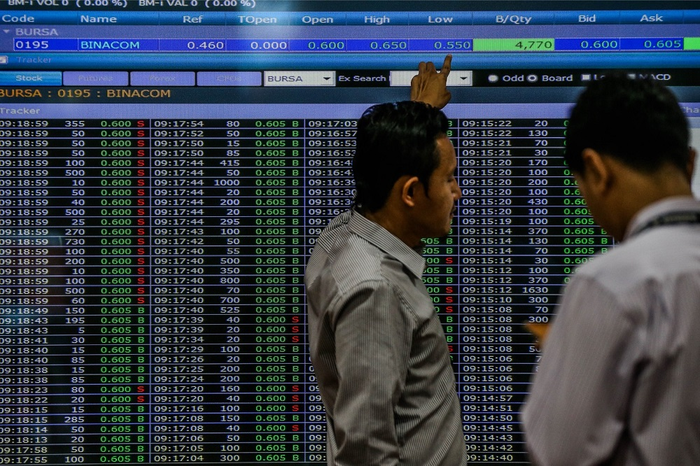 At 11.06am, the FTSE Bursa Malaysia KLCI (FBM KLCI) fell 7.61 points to 1,577.53 from yesterday's close of 1,585.14. — Picture by Hari Anggara