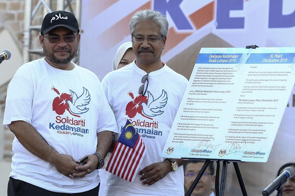 Ministers Datuk Seri Mujahid Yusof Rawa (left) and P. Waytha Moorthy at the launch of the Solidarity4pPace rally in Kuala Lumpur March 23, 2019.