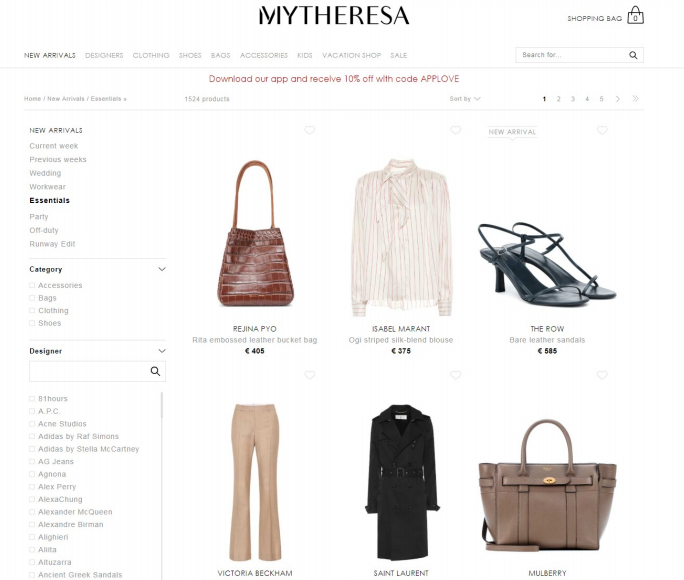 Mytheresa is another online store for luxury fashion.