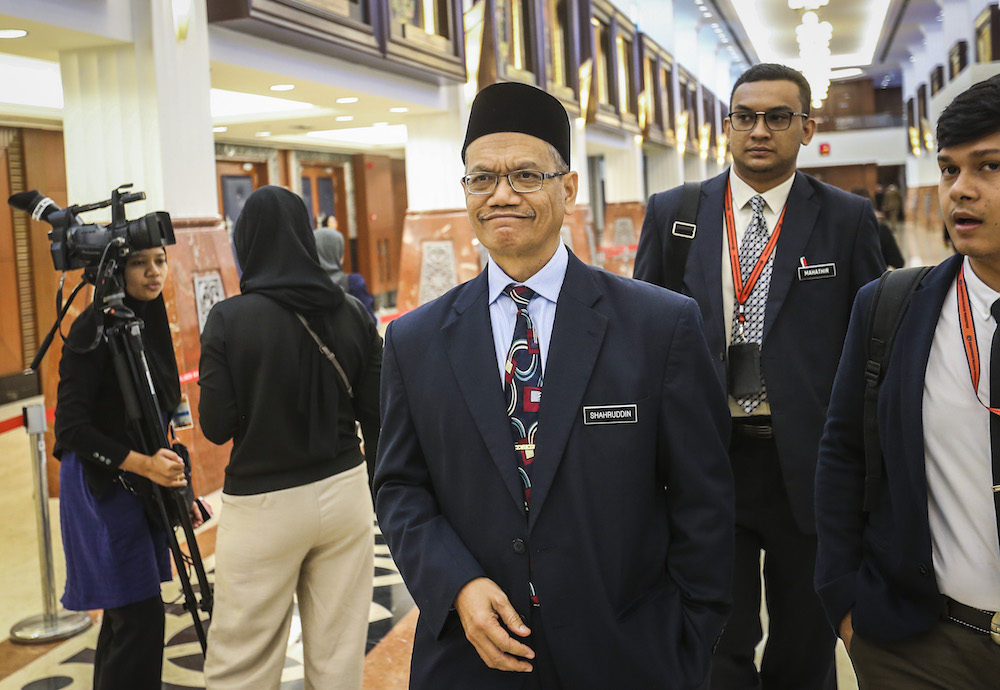 Datuk Shahruddin Md Salleh is pictured in Parliament in Kuala Lumpur March 25, 2019. — Picture by Firdaus Latif