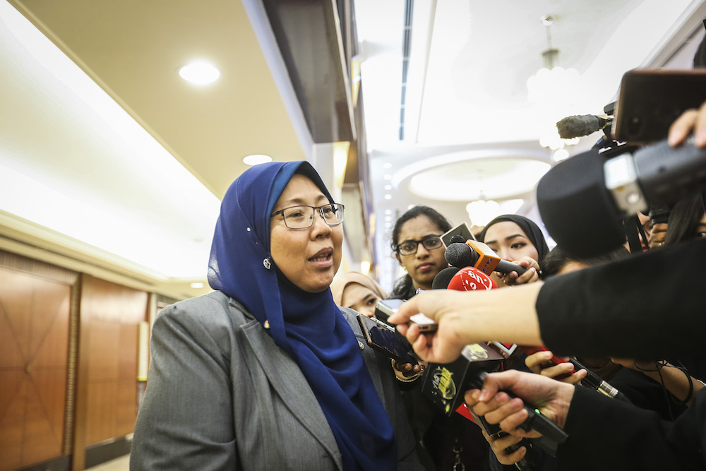 Fuziah Salleh speaks to reporters in Parliament in Kuala Lumpur March 25, 2019. — Picture by Firdaus Latif