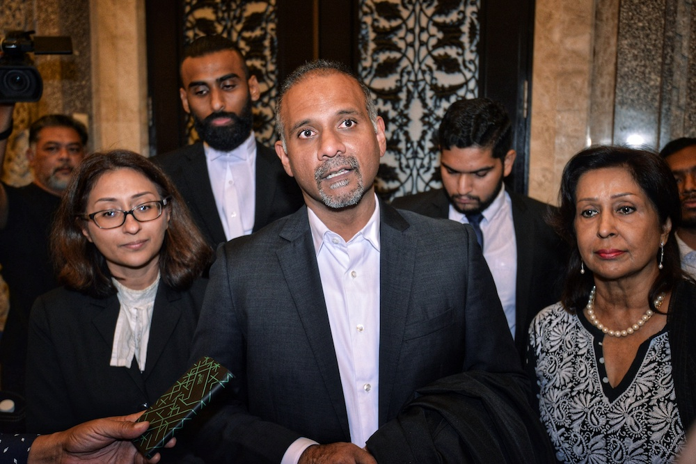 Lawyers Sangeet Kaur Deo, Ramkarpal Singh and Karpal Singh's widow Gurmit Kaur speak to reporters at the Federal Court in Putrajaya March 29, 2019. — Picture by Shafwan Zaidon