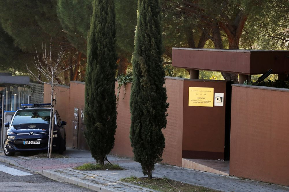 A Spanish National Police car is seen outside North Korea's embassy in Madrid, Spain February 28, 2019. — Reuters file pic