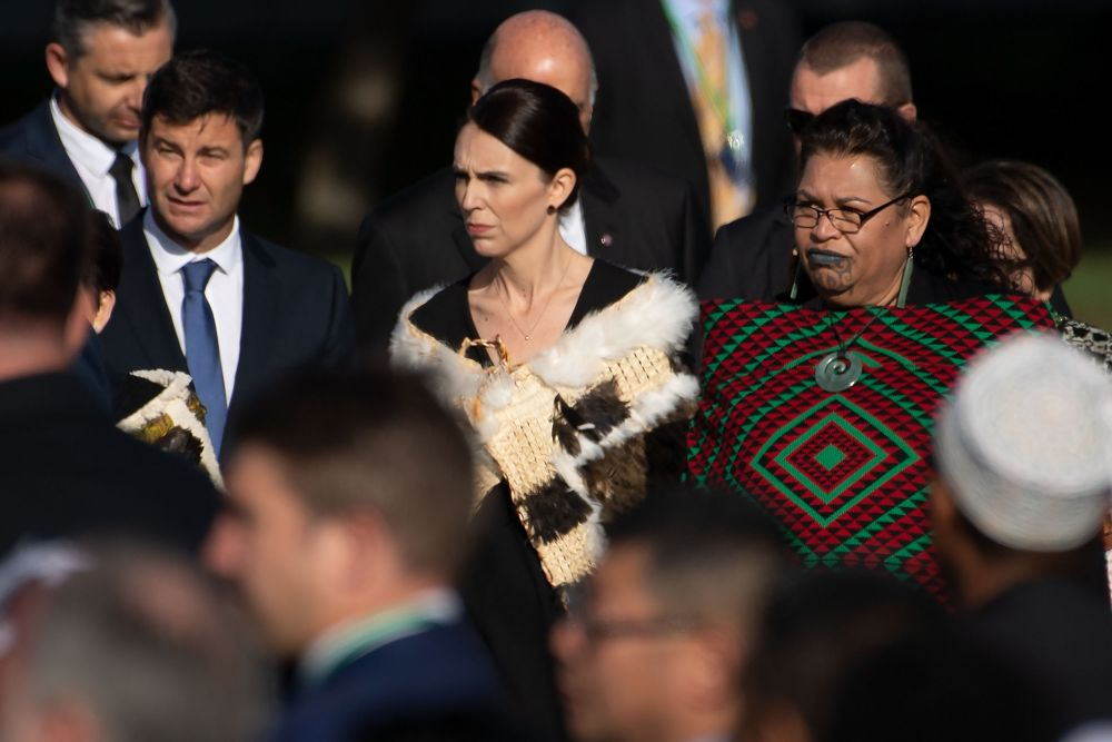 Prime Minister of New Zealand Jacinda Ardern (centre) arrives at the ceremony during a national remembrance event at North Hagley Park in Christchurch March 29, 2019. — AFP pic
