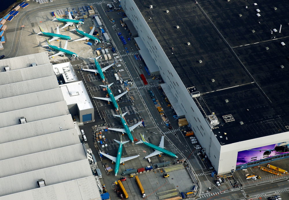 An aerial photo shows Boeing 737 MAX airplanes parked on the tarmac at the Boeing Factory in Renton, Washington March 21, 2019. — Reuters pic