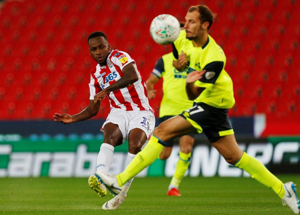 Stoke City's Saido Berahino shoots at goal during the Carabao Cup Second Round match Stoke City v Huddersfield Town at bet365 Stadium, Stoke-on-Trent, August 28, 2018. — Action Images via Reuters