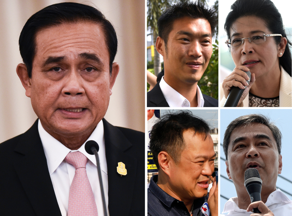 (Clockwise from left) Thai Prime Minister Prayut Chan-O-Cha in Bangkok October 24, 2018, Future Forward Party leader Thanathorn Juangroongruangkit in Bangkok February 27, 2019, Pheu Thai party prime ministerial candidate Sudarat Keyuraphan in Bangkok March 5, 2019, Democrat Party leader Abhisit Vejjajiva in Narathiwat March 2, 2019 and Bhumjaithai Party leader Anutin Charnvirakul greeting supporters in Ayutthaya province March 8, 2019. An athletic billionaire, a pro-marijuana advocate, a gruff coup leader, and a candidate jokingly labelled the 'strongest man on earth'. The 68 candidates for prime minister in Thailand's upcoming election on March 24 have diverse platforms and backgrounds. — AFP pic