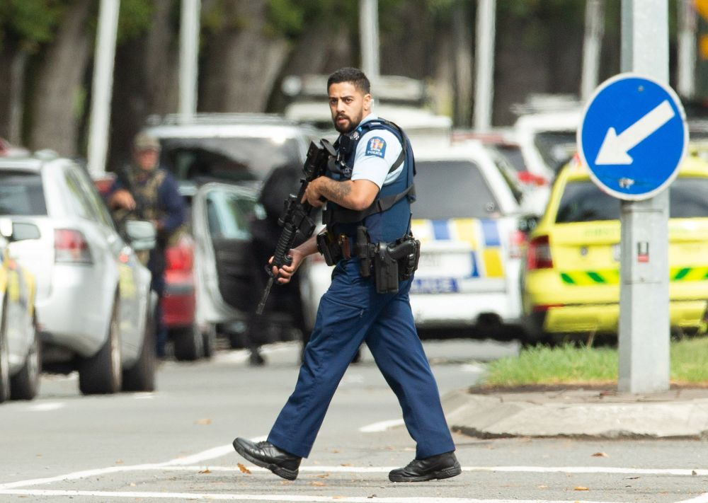 Armed police are seen following a shooting at the Al Noor mosque in Christchurch, New Zealand March 15, 2019. — Reuters pic