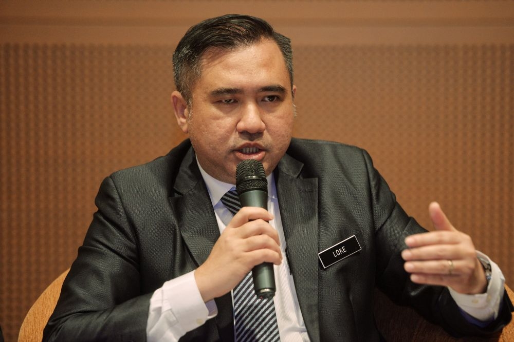 Transport Minister Anthony Loke speaks to reporters during after chairing the National Transportation Council meeting at the Putrajaya International Convention Centre March 5, 2019. — Picture by Shafwan Zaidon