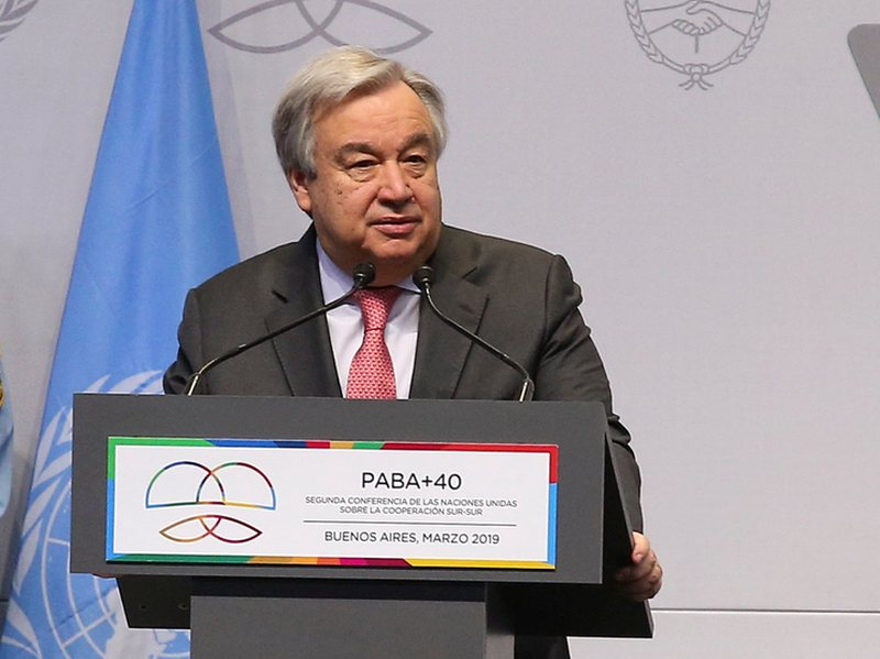 UN Secretary General Antonio Guterres speaks on South-South Cooperation in Buenos Aires, Argentina March 20, 2019. — Reuters pic