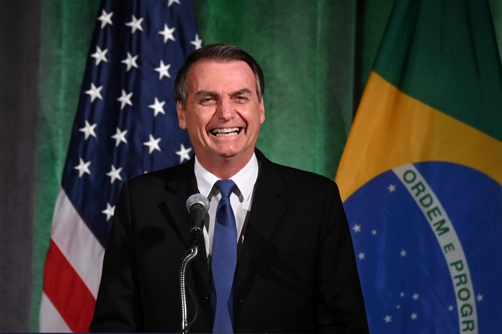 Brazilian President Jair Bolsonaro participates in a Brazil-US Business Council forum to discuss relations and future cooperation and engagement in Washington March 18, 2019. — Reuters pic