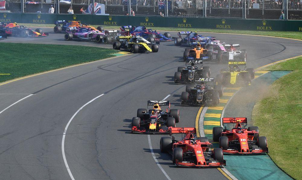 Ferrari's Sebastian Vettel and Charles Leclerc drive through turn two during the Formula One F1 Australian Grand Prix at the Albert Park Grand Prix Circuit in Melbourne, March 17, 2019. — Reuters pic