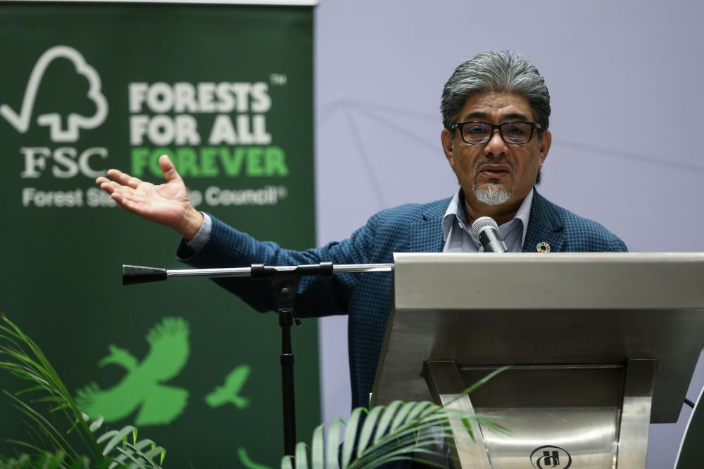 FSC International director Anthony Sebastian delivers a speech in Kuala Lumpur March 4, 2019. — Picture by Ahmad Zamzahuri