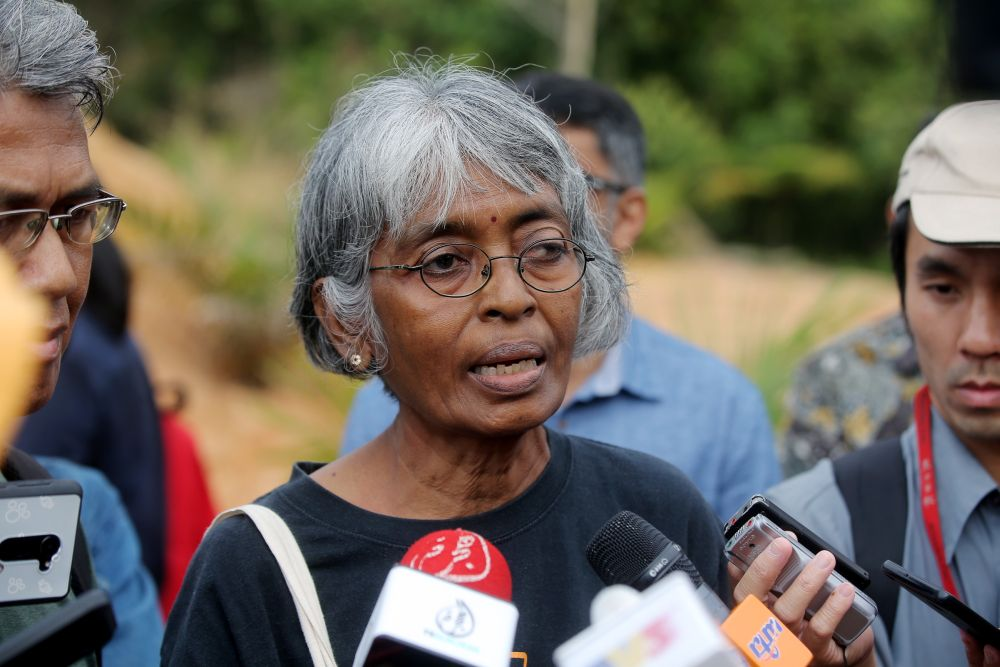 PSM central committee member R. Mohanarani speaks to reporters during a visit to Kledang Hill March 7, 2019. ― Pictures by Farhan Najib