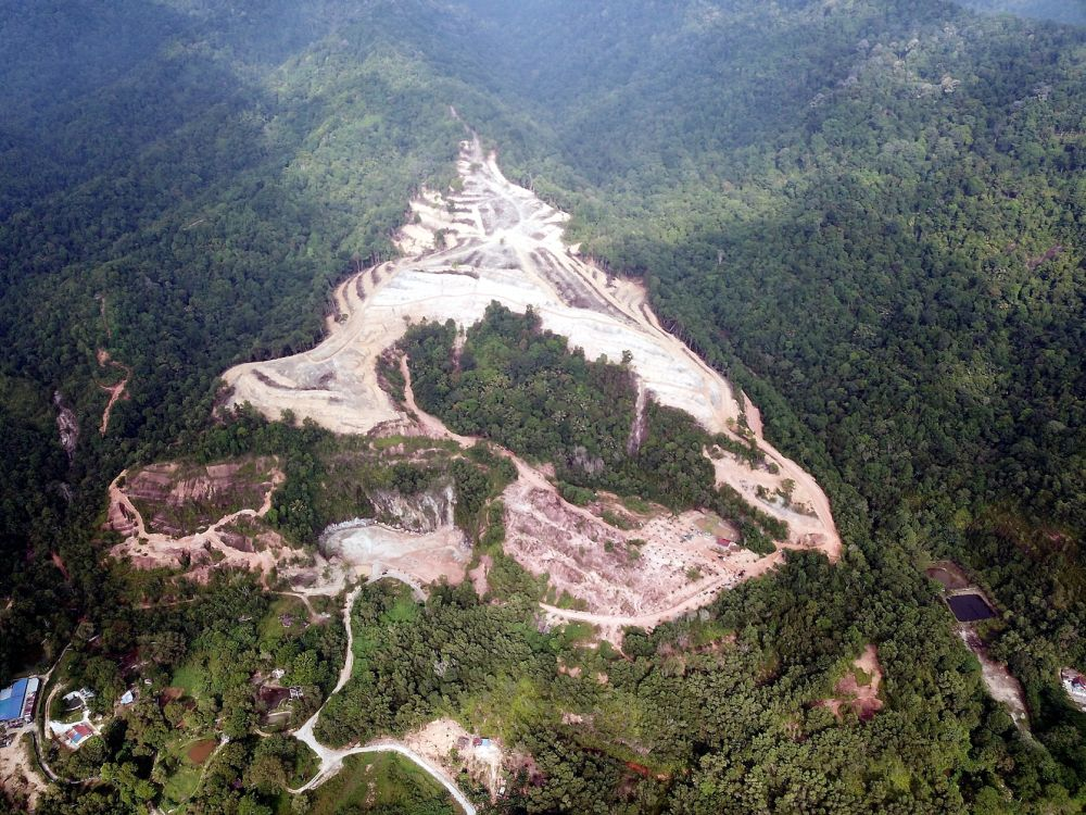 An aerial view of the illegal land clearing site at Kledang Hill.