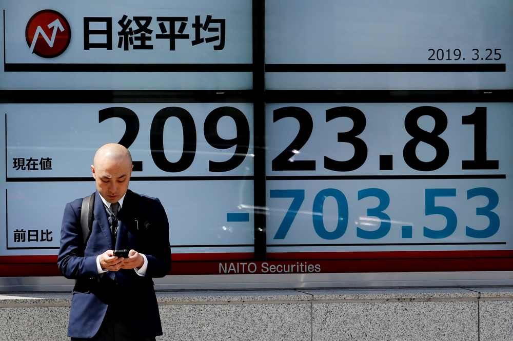 The Nikkei 225 index added 0.07 per cent, or 16.55 points, to 23,933.13, but the broader Topix index lost 0.14 per cent, or 2.34 points, to 1,728.72. — Reuters pic