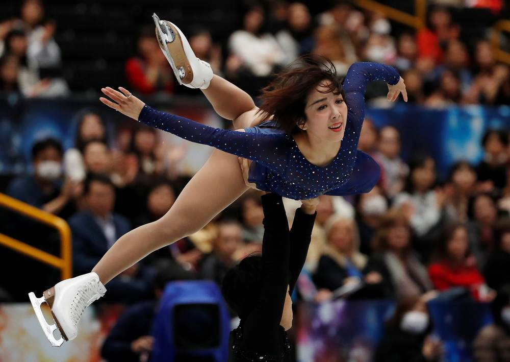 China's Sui Wenjing and Han Cong in action during the pairs free skating event at the ISU World Championships in Saitama, Japan March 21, 2019. — Reuters pic