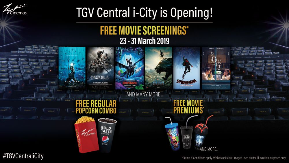 TGV offers free movie screenings, popcorn combo and movie premiums at its i-City Central multiplex from March 23 to 31. — Picture courtesy of TGV
