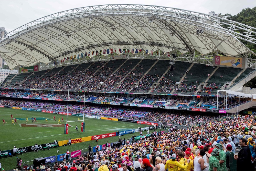 Fans attend the rugby tournament of the Hong Kong Sevens at Hong Kong Stadium, April 7, 2018. — AFP pic