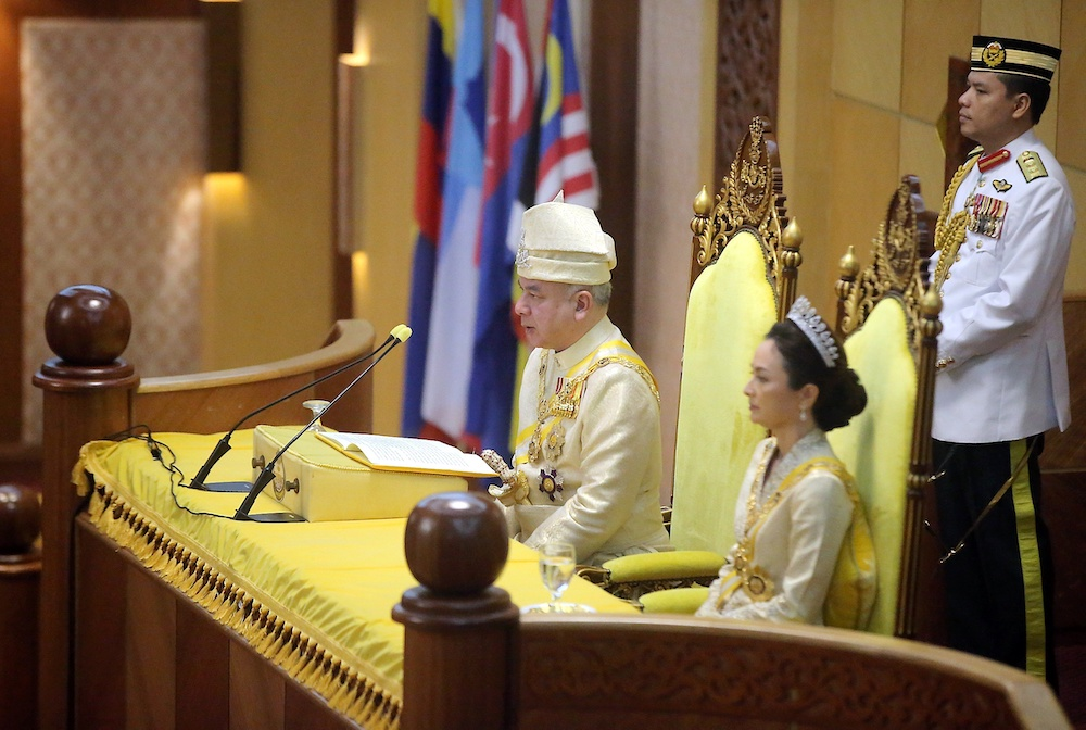 Sultan of Perak Sultan Nazrin Muizzuddin Shah at the first meeting of the second session of the 14th state assembly at the State Secretariat, Ipoh April 16, 2019. — Picture by Farhan Najib