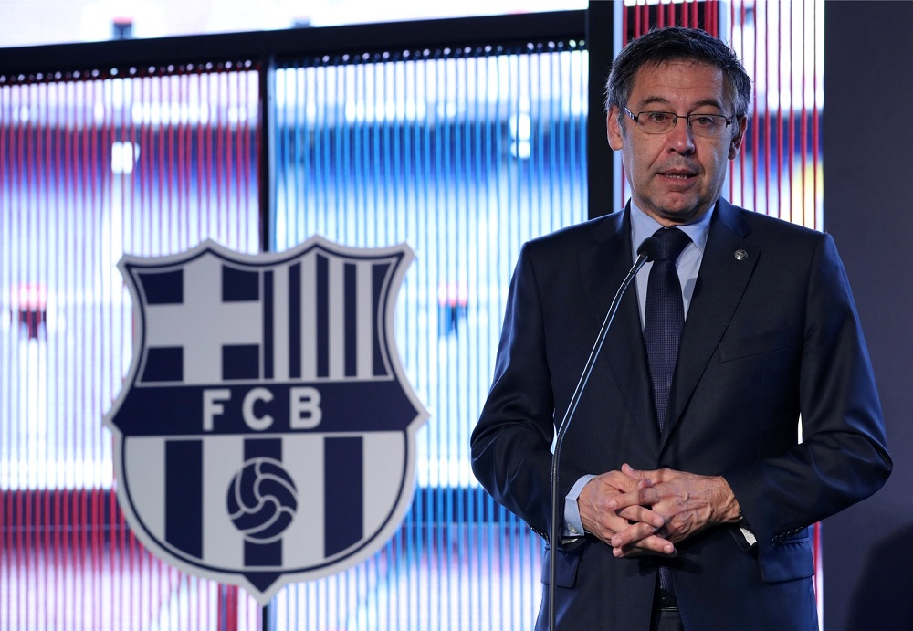 Then FC Barcelona president Josep Maria Bartomeu makes a presentation at Camp Nou, Barcelona in this file picture taken on February 13, 2019. — Reuters pic