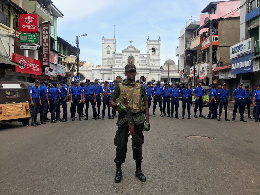 Sri Lankan military officials stand guard in front of the St Anthony's Shrine, Kochchikade church after an explosion in Colombo April 21, 2019. — Reuters pic