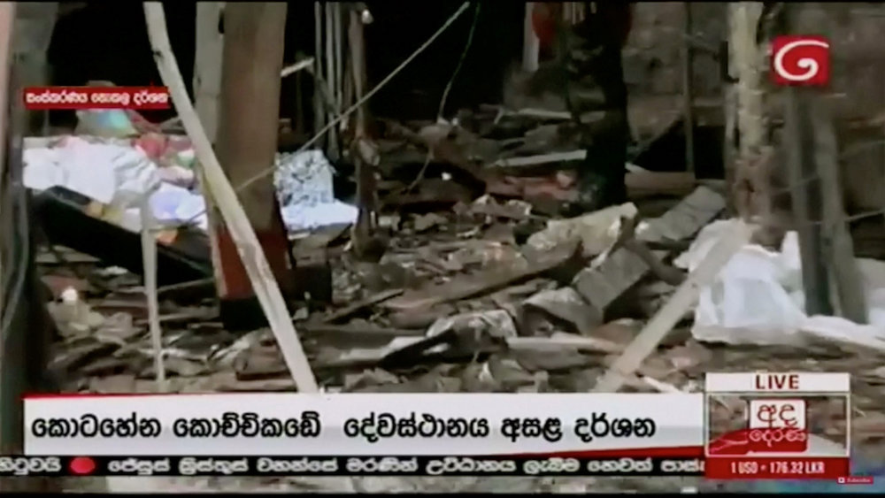 Debris is seen at St Anthony's Church after explosions hit churches and hotels in Colombo, Sri Lanka, April 21, 2019, in this still image obtained from video. — Reuters pic