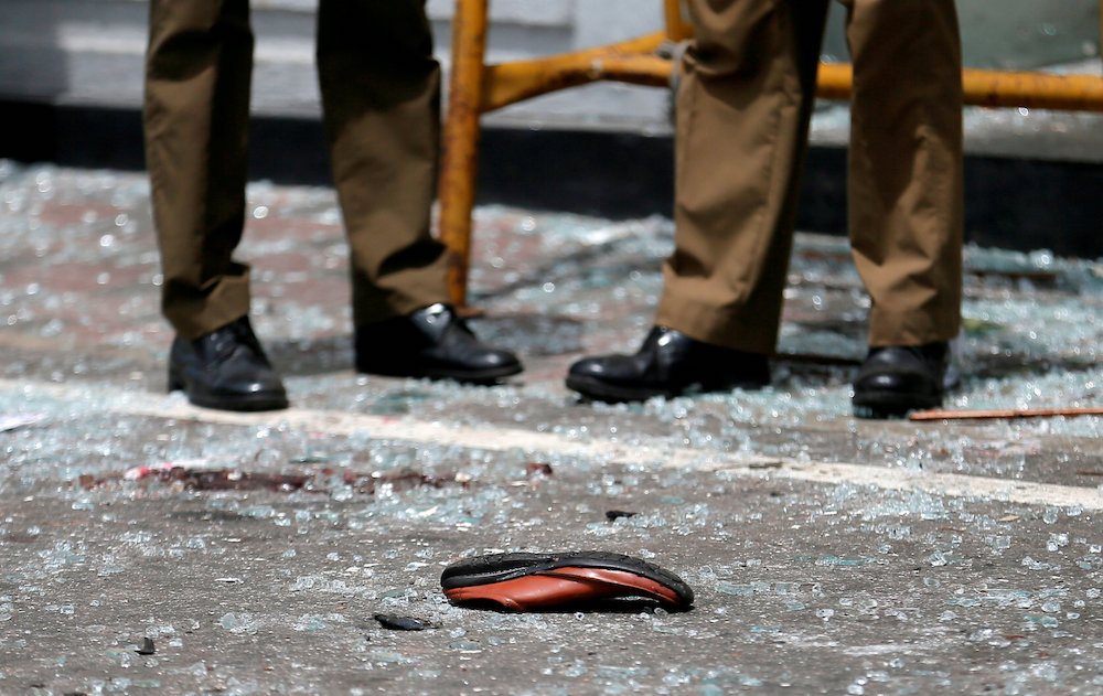 A shoe of a victim is seen in front of the St Anthony's Shrine, Kochchikade church after an explosion in Colombo, Sri Lanka April 21, 2019. — Reuters pic