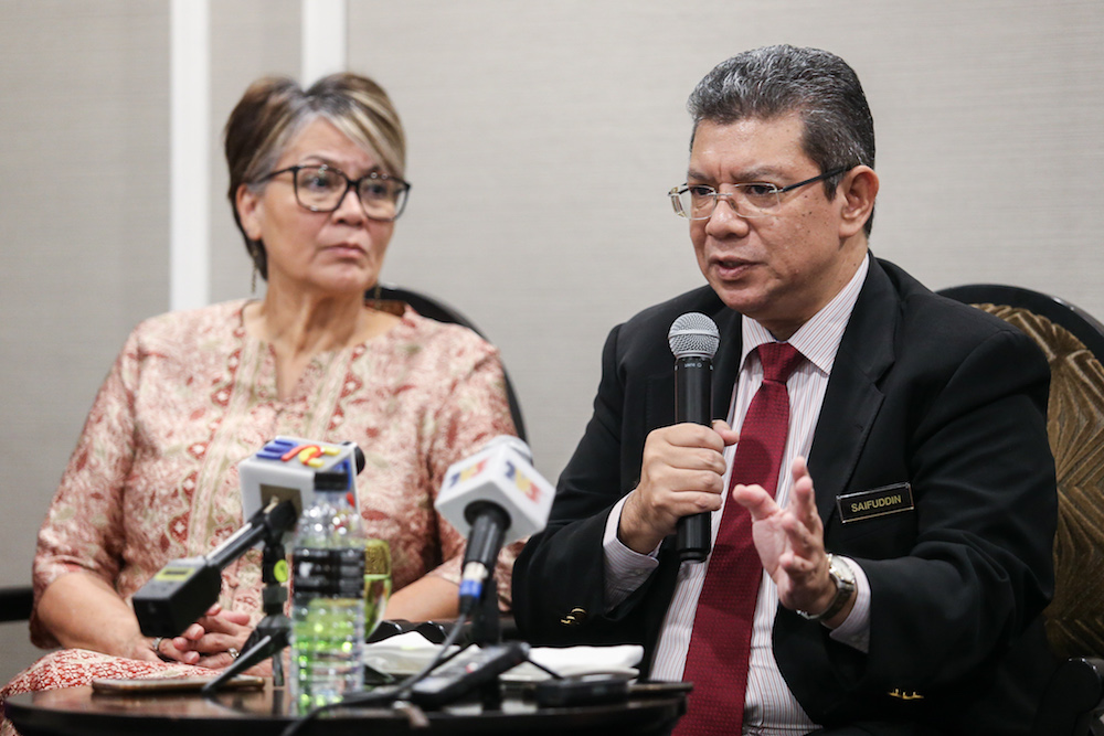 Foreign Minister Datuk Saifuddin Abdullah speaks to reporters after the launch of the State of the World Population Report 2019 in Kuala Lumpur April 10, 2019. — Picture by Ahmad Zamzahuri