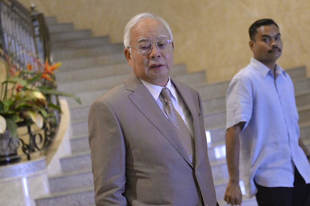 Datuk Seri Najib Razak arrives at the Court of Appeal in Putrajaya April 10, 2019. — Picture by Mukhriz Hazim