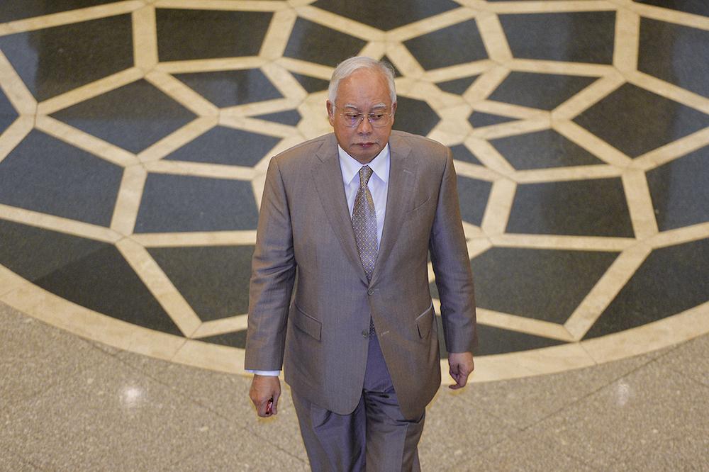 Former prime minister Datuk Seri Najib Razak arrives at the Federal Court in Putrajaya April 10, 2019. ― Picture by Mukhriz Hazim