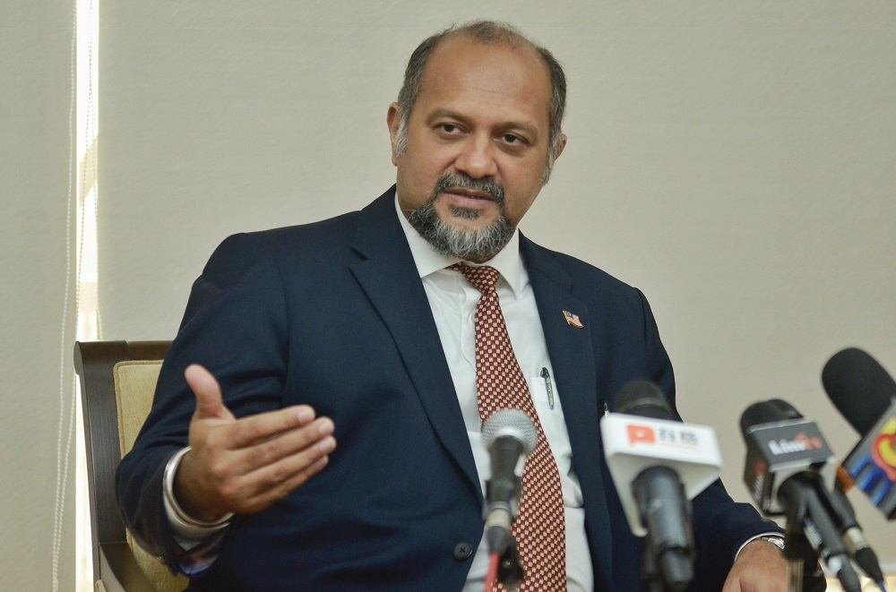 Communication and Multimedia minister Gobind Singh Deo speaks during an interview in Kuala Lumpur April 22, 2019. — Picture by Mukhriz Hazim