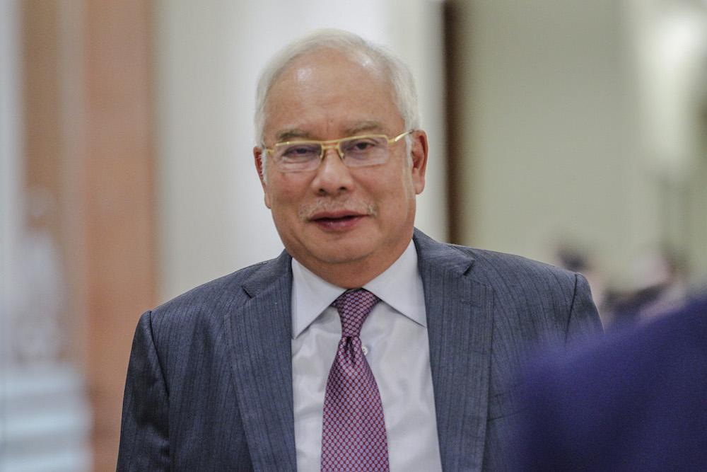 Datuk Seri Najib Razak arrives at the Kuala Lumpur Court Complex April 25, 2019. — Picture by Firdaus Latif
