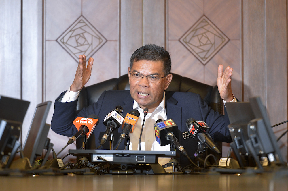 Domestic Trade and Consumer Affairs Minister Datuk Saifuddin Nasution Ismail speaks during a media interview in Putrajaya April 25, 2019. — Picture by Mukhriz Hazim