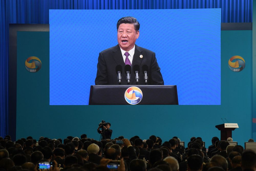 Chinese President Xi Jinping is seen on a screen as he speaks during the opening ceremony of the Belt and Road Forum in Beijing April 26, 2019. — AFP pic