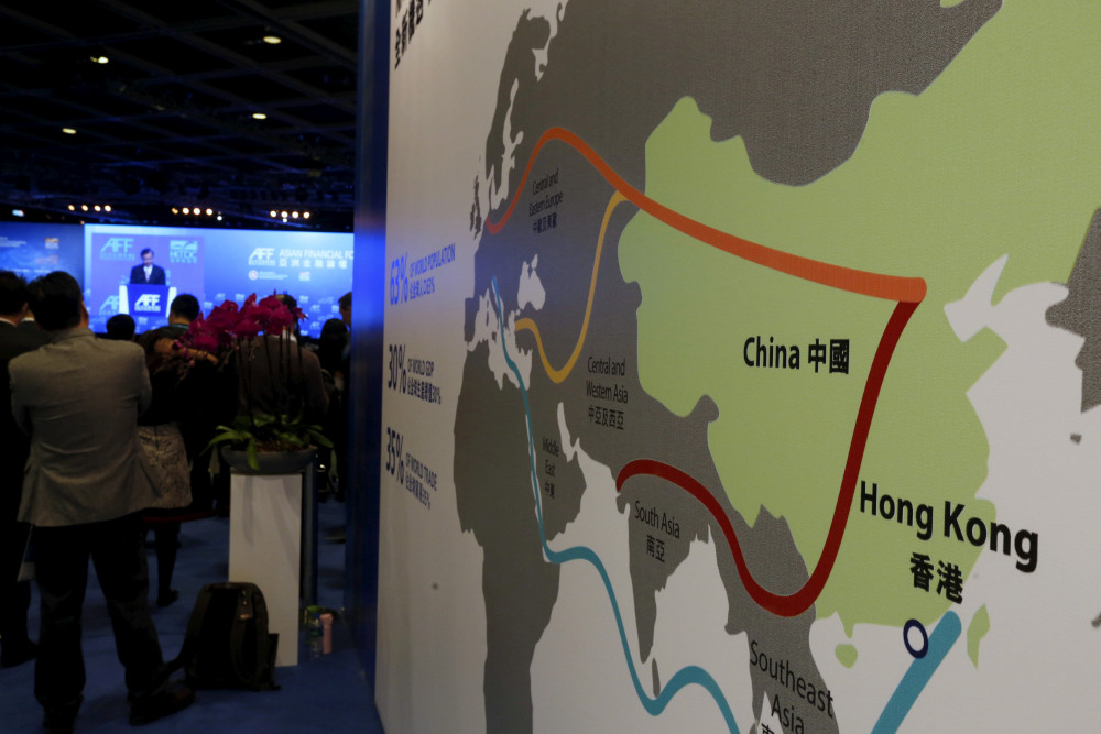 A map illustrating China's silk road economic belt and the 21st century maritime silk road, or the so-called 'One Belt, One Road' megaproject, is displayed at the Asian Financial Forum in Hong Kong, China January 18, 2016. — Reuters  pic