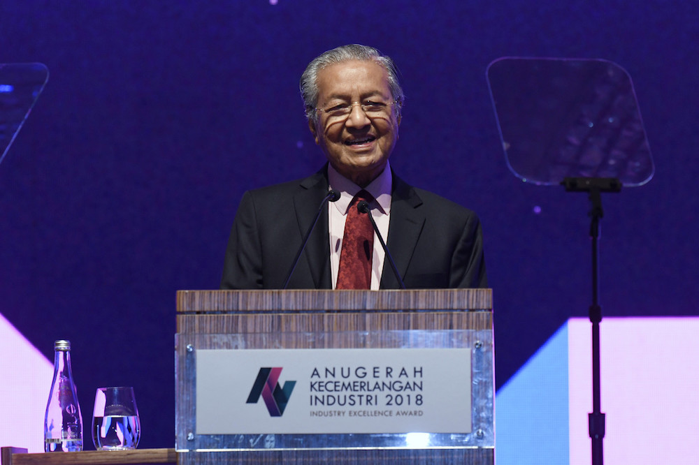Tun Dr Mahathir Mohamad gives his address at the Industry Excellence Awards 2018 in Kuala Lumpur April 19, 2019. — Bernama pic