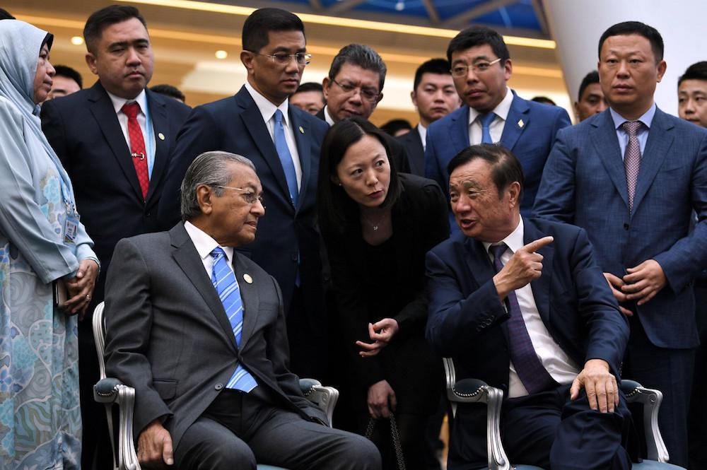 Prime Minister Tun Dr Mahathir Mohamad meets Huawei founder Ren Zhengfei at the Huawei Beijing Research Centre in Beijing April 25, 2019. — Bernama pic