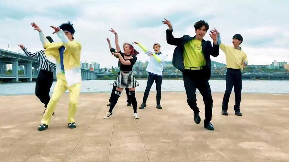 A screengrab from Twitter of K-pop boy band IN2IT shaking a leg to a song from 'Student of the Year 2'.