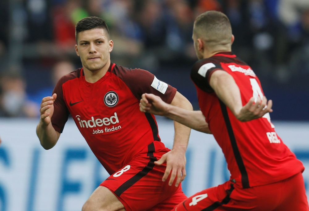 Eintracht Frankfurt's Luka Jovic celebrates scoring their second goal from the penalty spot against Schalke 04 during their Bundesliga match at Veltins-Arena, Gelsenkirchen, Germany, April 6, 2019. — Reuters pic