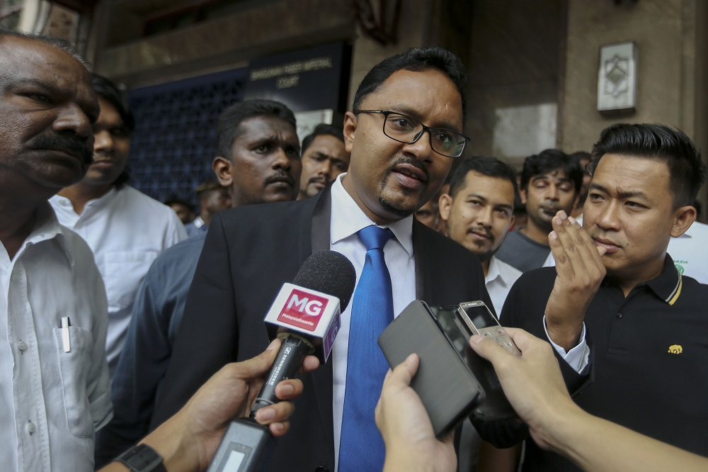 National MIC Youth leader, Thinalan T. Rajagopalu speaks to reporters outside the Sri Lanka High Commission in Kuala Lumpur April 26, 2019. — Picture by Mohd Yusof Mat Isa