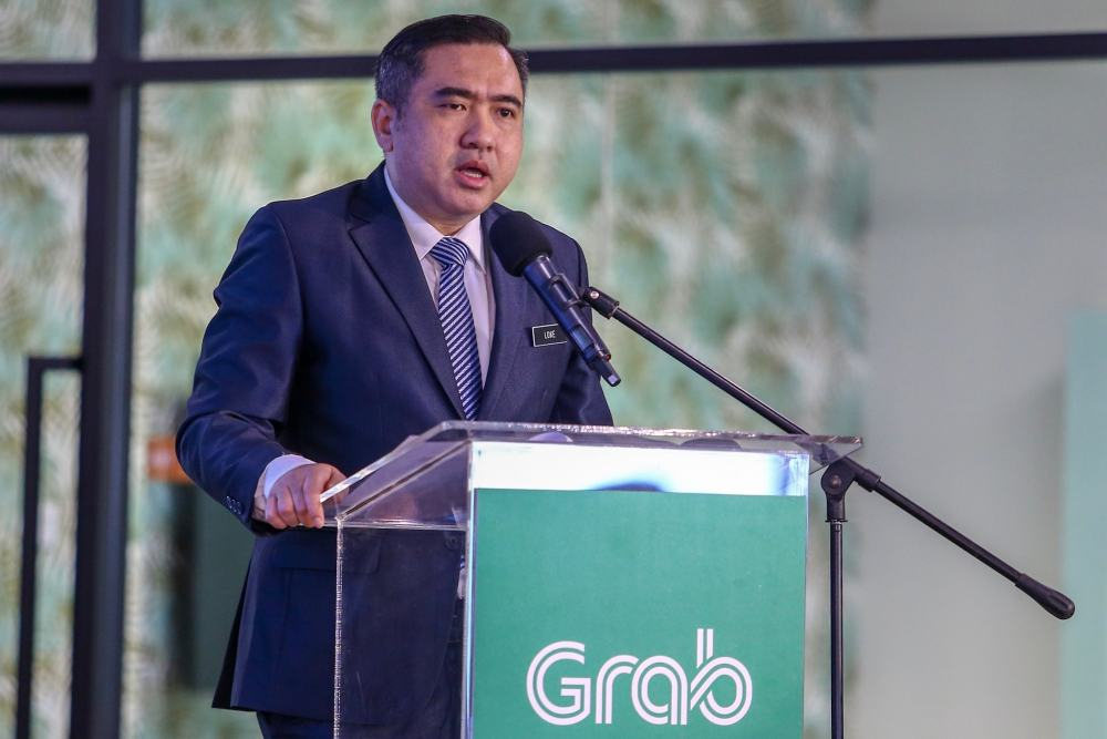 Transport Minister Anthony Loke speaks during a media event at Grab Malaysia's headquarters in Petaling Jaya April 11, 2019. ― Picture by Hari  Anggara